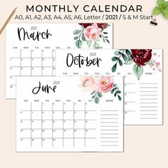 2021 Calendar Printable Wall Calendar Printable Desk | Etsy Grocery List Printable, Calendar Printable, Printable Recipe Page, Floral Printables, Journal Paper, Desk Calendars, 2021 Calendar, Writing Paper, Note Paper