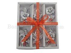 Favolosi fiorellini in porcellana argentata.. con delle simpatiche coccinelle portafortuna sopra..!!!