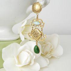 JL Blin Emerald Garden Clip Earrings