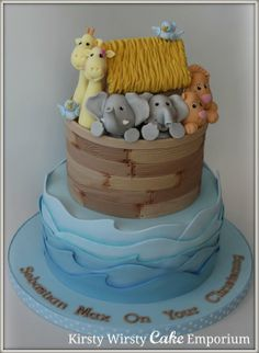 Noah's Ark Christening Cake - by KirstyWirstyCake @ CakesDecor.com - cake decorating website