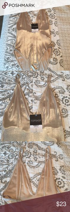 Topshop body suit BRAND NEW Topshop champagne gold sleek bodysuit Topshop Tops