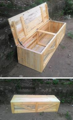 Wood pallet storage ideas are extremely vast. Both traditional and trendy wood pallet storage ideas have their own worth. Pallet Organization Ideas, Pallet Storage, Wood Storage Box, Storage Ideas, Pallet Crafts, Diy Pallet Projects, Pallet Dog House, Pallet Decking, Pallet Boxes