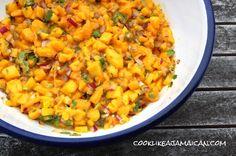 Jamaican Mango Salsa Recipe Condiments and Sauces with mango, purple onion, chopped fresh cilantro, salt, lime, hot pepper sauce