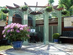 A corner Pergola, designed and erected for our stand at the RHS Chelsea Flower Show.