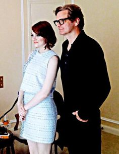 Colin Firth and Emma Stone in Paris to promote ''Magic in the Moonlight''.