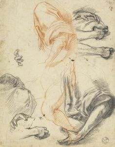 Andrea del Sarto, Studies of Arms, Legs, Hands, and Drapery, red & black chalk, ca. 1522. Uffizi collection. Andrea focuses here on specific details of the same figure that is in his Study of a Kneeling Figure in Profile to the Left. He begins in red chalk with the left arm and rolled sleeve, experiments with foreshortening in the legs, and then uses black chalk (perhaps to signal a next stage in his design process) to compose further studies of arms and hands. Curiously, he produced these…
