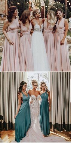 A-Line V-Neck Convertible Style Long Blue Satin Bridesmaid D.- A-Line V-Neck Convertible Style Long Blue Satin Bridesmaid Dress - Satin Bridesmaid Dresses, Homecoming Dresses, Infinity Dress Bridesmaid, Pink Bridesmaids, Bridemaid Dresses Long, Beach Wedding Bridesmaids, Bridesmaid Ideas, Trendy Dresses, Nice Dresses