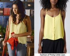 Topshop Button-Front Strappy Cami in Yellow - Sold Out Available Here in colbat for $36.00 and Here in white for $35.00
