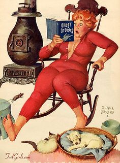 """I love Hilda (even though I don't like the """"pinup"""" part, her robustness & red hair make me remember that us Hefty Hunnies can be Hotties too ;) )  The Homestead Survival: Hilda Red Union Suit Long Johns Thermal Underwear & Where You can Get A Pair"""