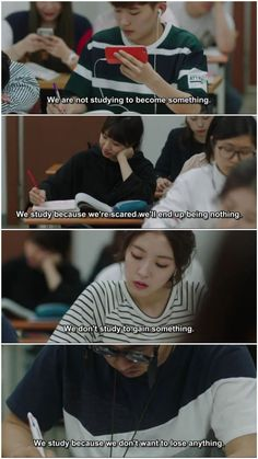 The sad truth about learning for many students Korea Quotes, Quotes Drama Korea, Korean Drama Quotes, K Quotes, Film Quotes, Motivational Quotes, Korean Drama Best, Korean Drama Funny, Kdrama Memes