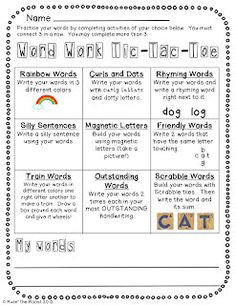 Free Tic-Tac-Toe menu for kids to choose how to practice their words during word work time (spelling, vocab, high frequency. Could use in word station. Phonics Words, Spelling Words, Spelling Ideas, Spelling Practice, Grade Spelling, Spelling Homework, Word Work Activities, Spelling Activities, Vocabulary Games