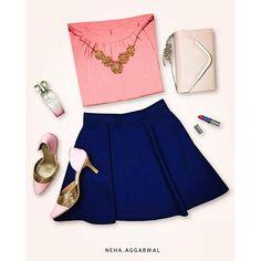 #LookYourBestIn  1. Pink Top  2. Blue Skater Skirt 3. Nude Clutch 4. Pink Heels 5. Victoria's Secret Perfume 6. Red Lipstick  7. Floral Choker  #pink #blue #nude #clutch #top #skater #skirt #victoriassecret #heels #stilettos #red #lipstick #colorbar #streetstylestore #choker #gold #floral #zara #veromoda #mango #accessorise