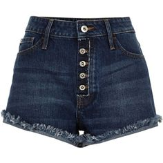 Blauwe mid wash distressed Ruby denim short (120 BRL) ❤ liked on Polyvore featuring shorts, bottoms, clothing - shorts, pants, distressed denim shorts, torn shorts, destroyed shorts, frayed shorts and distressed jean shorts