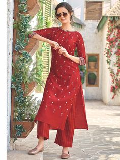 Shop Red color long kurti set in cotton fabric online from India. Salwar Designs, Silk Kurti Designs, Kurta Designs Women, Kurti Designs Party Wear, Short Kurti Designs, Red Kurti Design, Stylish Dresses, Fashion Dresses, Formal Dresses