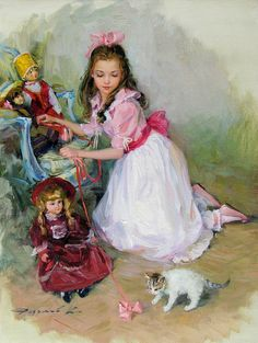 Young lady with toys an cat
