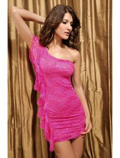 Sexy Pink Lace Mini Dress One Shoulder Style | Club Dresses | Clubwear | StringsAndMe