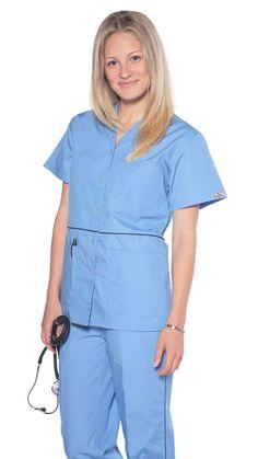 Women's Designer Pearl Button Up Uniform Scrubs