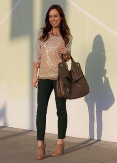 Sydne Style - Sequins sweatshirt trend rose gold gray emerald pants J. Crew Forever 21