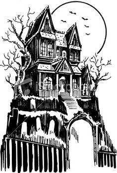 This moody vector illustration of a haunted house was created with. Haunted House Drawing, Haunted House Tattoo, Halloween Haunted Houses, Halloween House, Halloween Art, Halloween Vector, Halloween Drawings, Burg Tattoo, Marilyn Monroe Painting