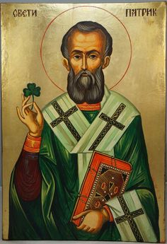 High quality hand-painted icon of St Patrick of Ireland Large. BlessedMart offers Religious icons in old Byzantine, Greek, Russian and Catholic style.
