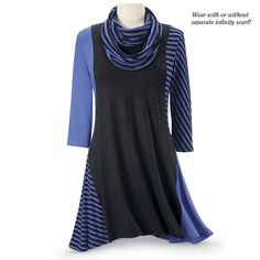Godet-hemmed, black tunic uses periwinkle for color contrast on one sleeve and one godet. Periwinkle and black stripes echo on the other sleeve. Super cute in plus size with detachable scarf. Pyramid Collection.