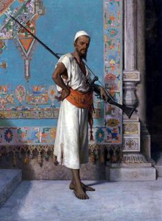 Egyptian with his rifle By Francesco Beda - Italian , 1840-1900  Oil on canvas , 94.6 cm X 69.2 cm
