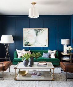 Here is navy working well with a green sofa. Laurel Home Blog article: The Worst Decorating Mistake You're Most Likely Making
