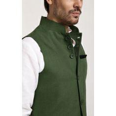 100% Linen Nehru Jacket. Style Code - YLWC/310C Muslim Fashion, Ethnic Fashion, Indian Fashion, Mens Fashion, Fashion Tips, Groom Outfit, Groom Dress, Men Dress, Colorado Fashion
