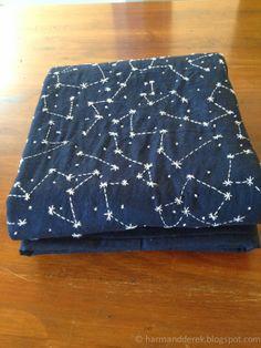 Constellation quilt. Orion's Belt. Constellations. Indigo Blue DIY Constellation quilt on harmandderek.blogspot.com husband and harmony