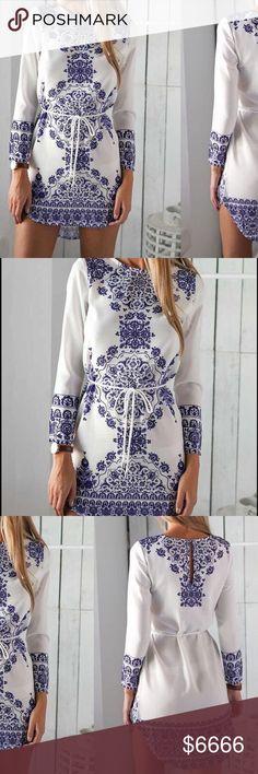 Coming soon White and blue mini dress Poly blend Dresses Mini