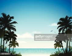 Vector Art : Tropical Beach with Palm Trees