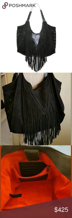 HAMMITT Fringed Fets Black Boho Large Bag Suede and Leather. FETS FRINGE SHOULDER BAG $675.00 Retail on tag  This bag is all black with red lining. SUEDE BLACK AND MATTE BLACK LEATHER.  The Fets Fringe is a chic hobo silhouette with a classic bohemian feel. Features two exterior side pockets subtly embossed with Hammitt Los Angeles logo. Roomy interior has 3 slit pockets (1 for pen) and 1 large interior zipper compartment with a leather embossed Hammitt business card / credit card holder…