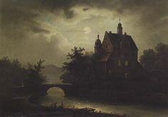 August von Wille Schloss am Flussufer bei Mondlicht