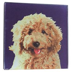 Add a touch of style to your home bar or coffee table with this charming coaster, featuring a stylized labradoodle motif for a pop of contemporary appeal.