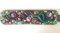 Bead embroidery bracelet with shibori silk, 3 Swarovski rivolis, turquoise gemstone chips, sweet water pearls, Swarovski bicones and Toho seed