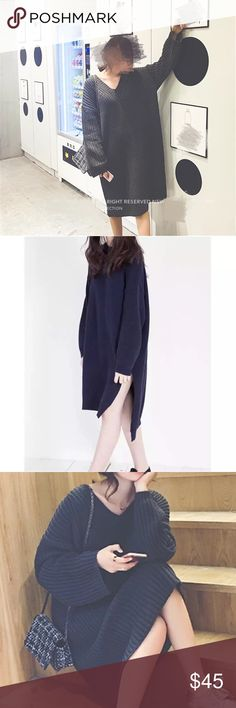 """HURRY LAST ONE 💝black Oversized longline sweater Super pretty. Sexy V-neck design. Measurement: bust-45.7"""" length: 36.6"""" shoulder to shoulder: 23.6"""", sleeve length: 15.7"""". The black color mixing with a hint of grey Sweaters"""