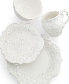 Maison Versailles Mix and Match Collection - White Dinnerware - Dining & Entertaining - Macy's Classic Dinnerware, Casual Dinnerware, White Dinnerware, Versailles, Farmhouse Dinnerware Sets, Chip And Jo, Home Styles Exterior, Stoneware Dinnerware, White Dishes