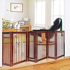 Pet Expanding Wooden Fence Gate,Retractable Dog Screen Sliding Door Gates Doorways Freestanding Portable Dog Cat Gate Safety for Home Patio Garden Lawn