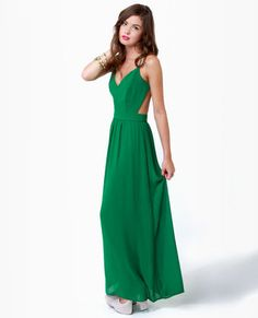 so cute & comes in blue too. Rooftop Garden Backless Green Maxi Dress $51.00