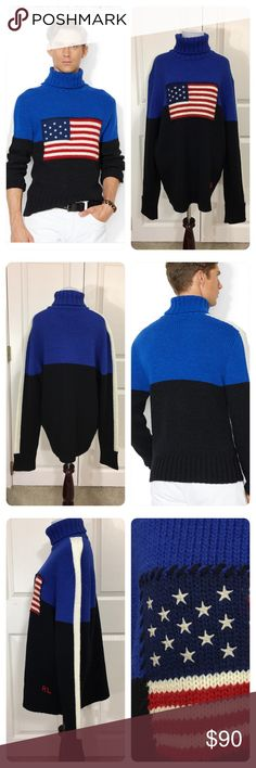 NWT!  Polo Ralph Lauren Flag Turtleneck Sweater New with tags from a secondary market store!  Polo Ralph Lauren Men's Blue Flag Turtleneck Sweater.  This color-blocked turtleneck is made in the USA from a hardy Italian wool blend and features an intarsia knit flag. Polo by Ralph Lauren Sweaters Turtleneck
