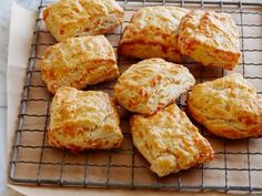 Buttermilk Cheddar Biscuits by Ina Garten. Came out very wet and sticky, maybe because I didn't use mixer. Couldn't knead and cut but made drop biscuit style. Flat but incredibly delicious! Used Tillamook sharp cheddar and a bit of asiago for zing.