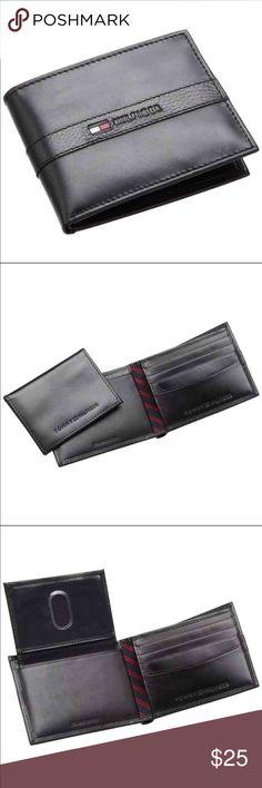 "New Tommy Hilfiger Men's Black Leather Wallet New Tommy Hilfiger Men Wallet Color: Black Size: 4.2"" x 3.2"" 4 Credit Card Slots 1 Bill Slot Tommy Hilfiger Bags Wallets"