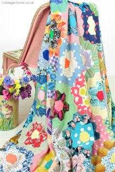 Vintage Home Shop - Huge Colourful Vintage Patchwork Quilt at: www.vintage-home.co.uk