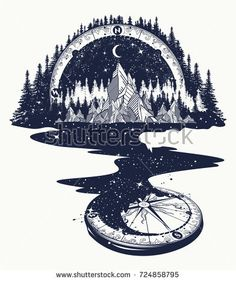 River of stars flows from the mountains and compass, tattoo art. Infinite space, meditation symbols, travel, tourism. Endless universe concept. Mountains tattoo, t-shirt design, surreal graphics Neue Tattoos, Body Art Tattoos, Tattoo Drawings, Tribal Tattoos, Sleeve Tattoos, Art Drawings, Tattoo Art, Drawings Of Stars, Drawing Art
