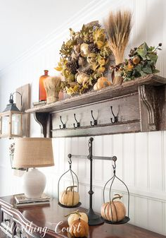 Rustic farmhouse dining room ideas farmhouse dining room decor the top of a vintage mantel becomes a shelf when the legs farmhouse dining room home Fall Home Decor, Diy Home Decor, Room Decor, Wall Decor, White Fireplace Mantels, Mantle, Farmhouse Mantel, Farmhouse Style, Modern Farmhouse