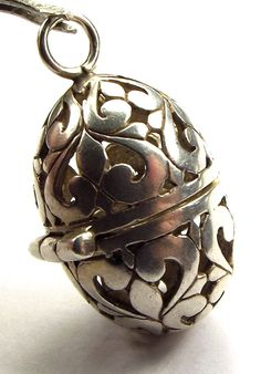 Vintage Silver Pierced Egg Pomander Locket, Charm Or Pendant from m4gso on Ruby Lane..