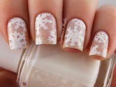 Nude snowflake nails