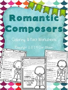 These fun review worksheets include 6 coloring and fact sheets for Franz Liszt, Richard Wagner, Johannes Brahms, Peter Tchaikovsky, Sergei Rachmaninoff, and Frederic Chopin.    Check out the Romantic Composers Bulletin Board Set