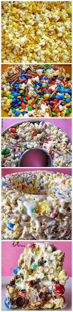Ingredients 2 Bags of Popcorn (or about five quarts of popcorn) 1 Cup M&Ms 1 Cup salted peanuts 1 ½ Cups Butterfinger pieces 13 oz. Ice Cream Desserts, Just Desserts, Delicious Desserts, Dessert Recipes, Yummy Food, Toffee, Yummy Treats, Sweet Treats, Popcorn Cake