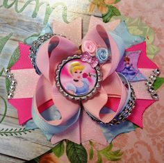 Cinderella Bow/Cinderella Hair Bow/Disney Princess Bow/Princess Cinderella Girls Hair Bow/Disney Inspired Bow/Girly Curl Bow/Boutique Bow by GirlyCurlBowtique on Etsy